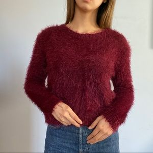 Fuzzy maroon sweater from forever 21